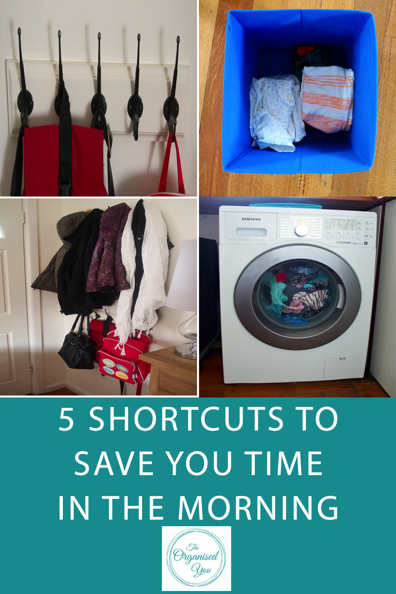 5 Shortcuts to Save You Time in the Morning - mornings are always crazy when you're trying to get out the door as quickly as possible, particularly when you have young kids that you also need to get organised. This post is perfect for busy mums who need some ideas for shortcuts to save time in the morning, and getting the family more organised to be out the door on time. Click through for you BONUS FREE CHECKLIST on things you can do the night before to prepare for a busy morning.