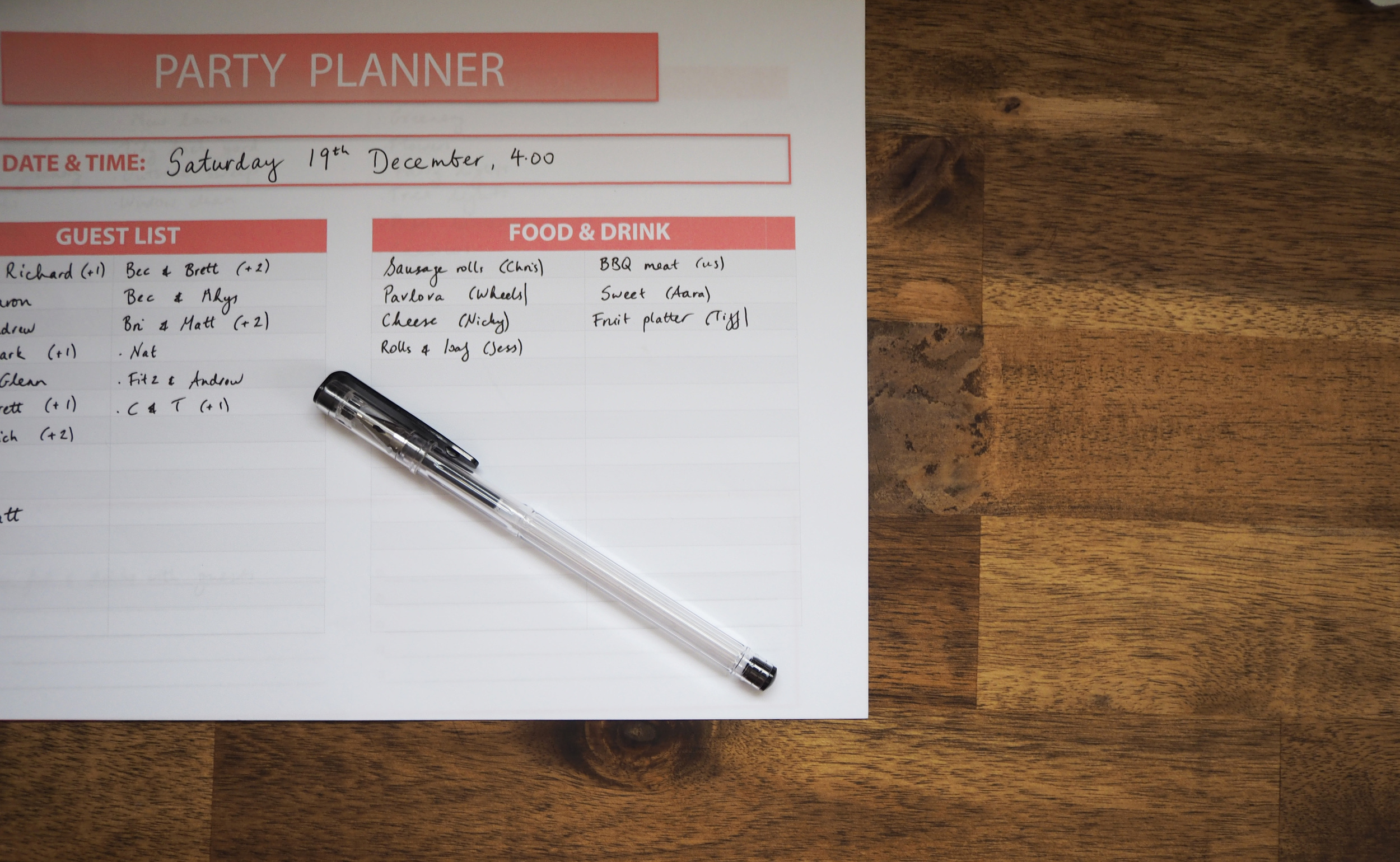 party planning checklist - keeping track of food and drinks