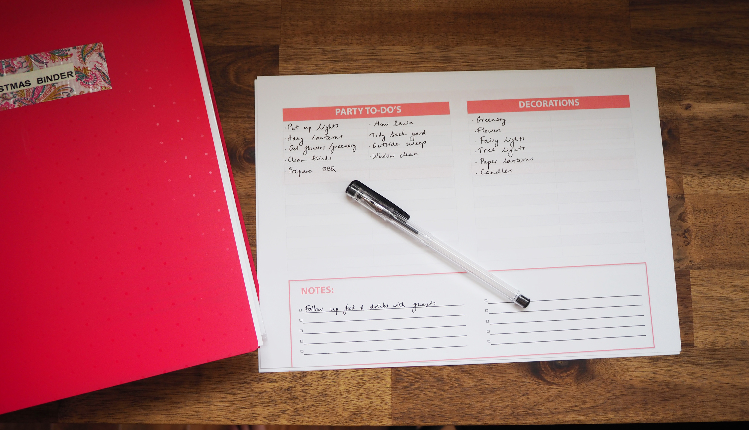 Party planning checklist - to-do list to keep on track with your party preparations