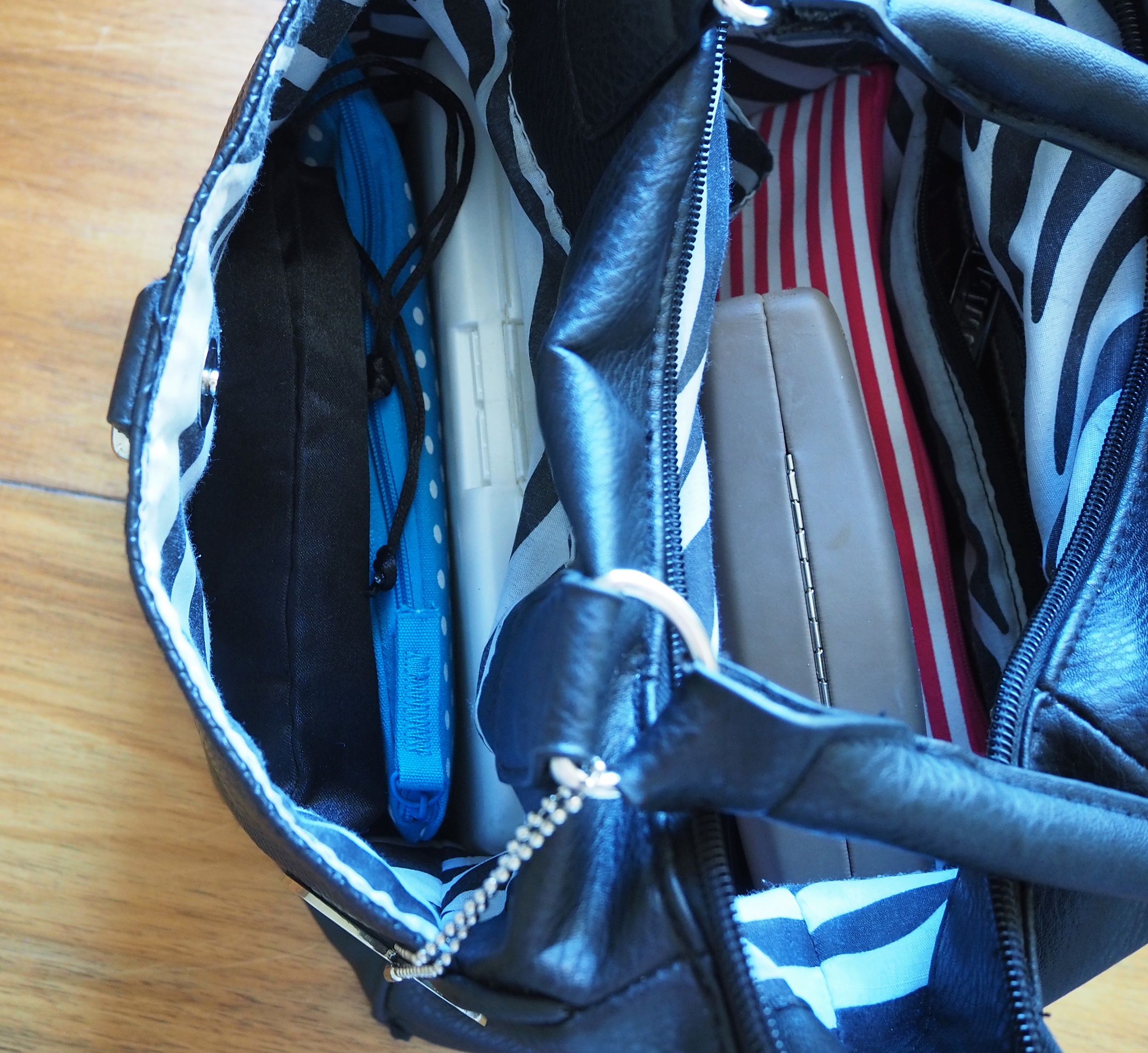 side pocket handbag storage