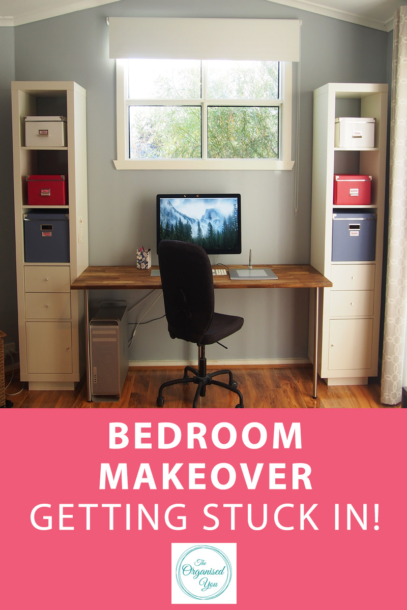 Bedroom Makeover: Getting Stuck In - sometimes a room makeover can happen completely unexpectedly and without planning, but still turn out amazingly! Our new home office area is perfect for working from home, and great storage capabilities. Click through to read the first part of our bedroom makeover!