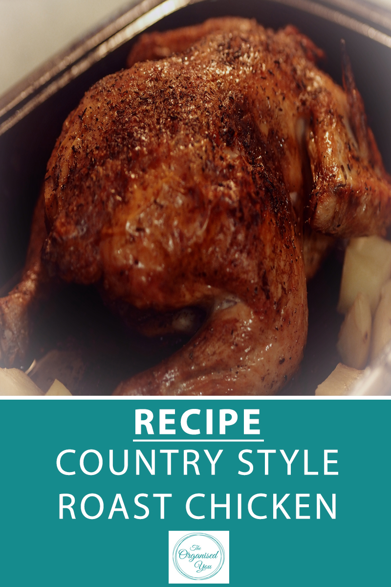 Recipe: Country Style Roast Chicken - roast chicken is actually a very simple dinner to make, as you can put it in the oven and forget about it! Great for leftovers or using in another meal later in the week. This recipe is available as a free printable download, click through for the full recipe!