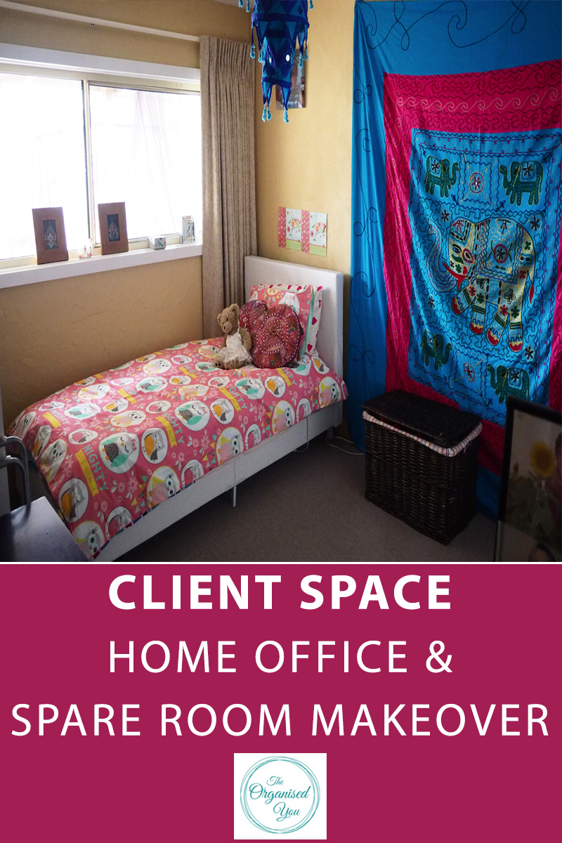 Client Space: Home Office and Spare Room Makeover - home offices can be one of the most difficult spaces to organise as there can often be such a build-up of paper clutter. It is also tricky when this room has a duel purpose (such as a spare room). Click through to read how a professional organiser declutters and organises a space, using a step-by-step process, with awesome results!