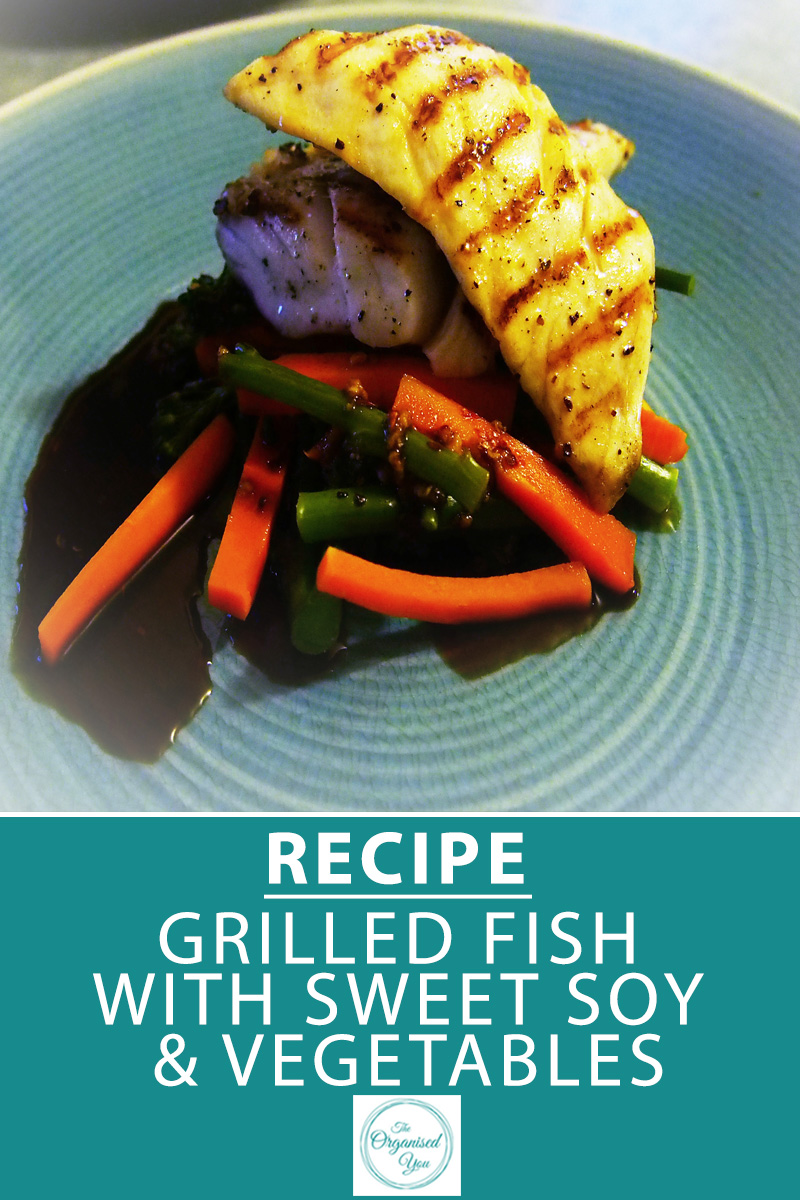 Recipe: Grilled Fish with Sweet Soy and Vegetables - fish is extremely good for you, and is a quick and easy protein to cook on a busy night. We love fish dishes because they are light and satisfying, and this recipe is a nice easy one too. Click through for the FREE printable recipe as well as a few ideas for getting fussy eaters to eat their vegetables!