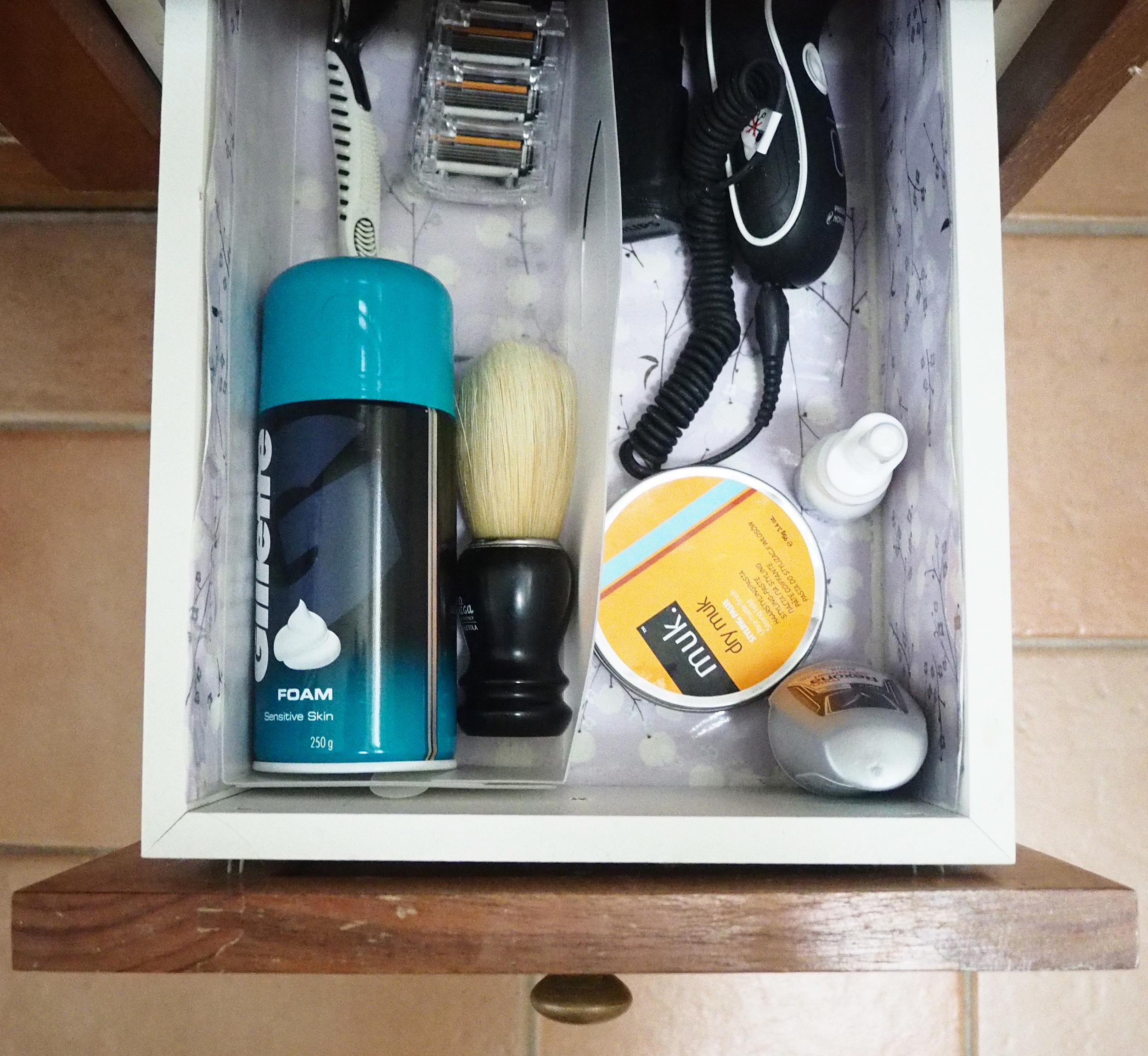 organised bathroom vanity drawer