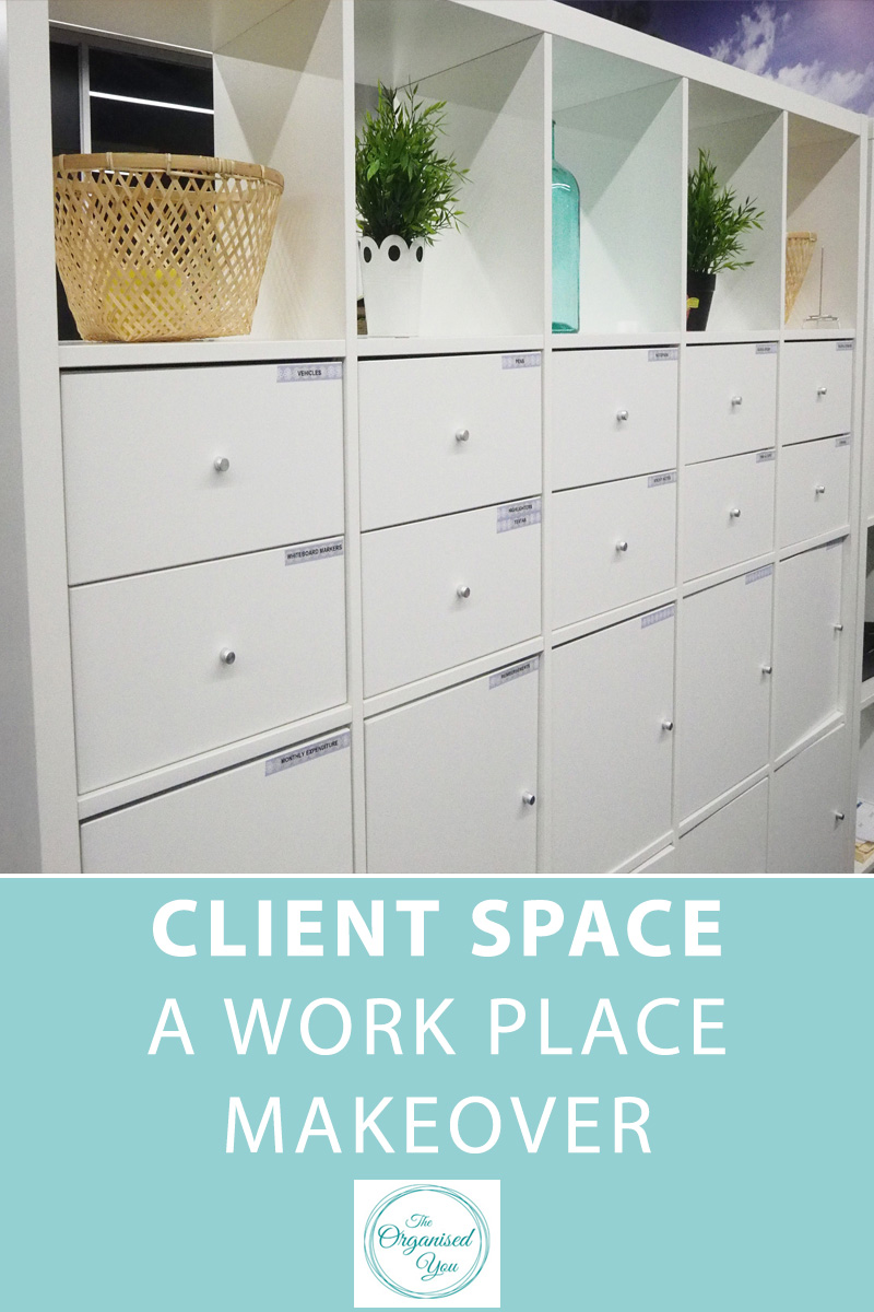 Client Space: A Work Place Makeover - a well-organised work place is so important for good work habits and productivity. Click through to read how this work place was decluttered and organised to produce a beautiful, organised office space that promotes productivity and team-work.