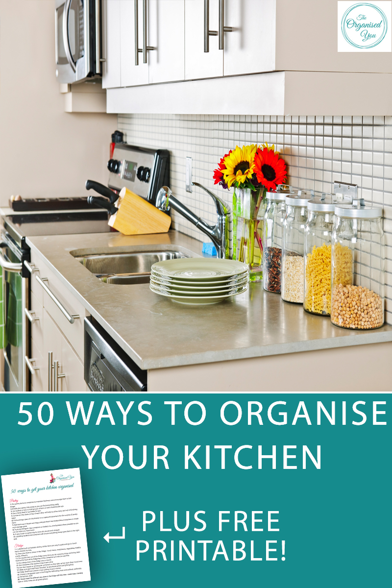 50 ways to get your kitchen organised, plus a FREE printable to check off as you go