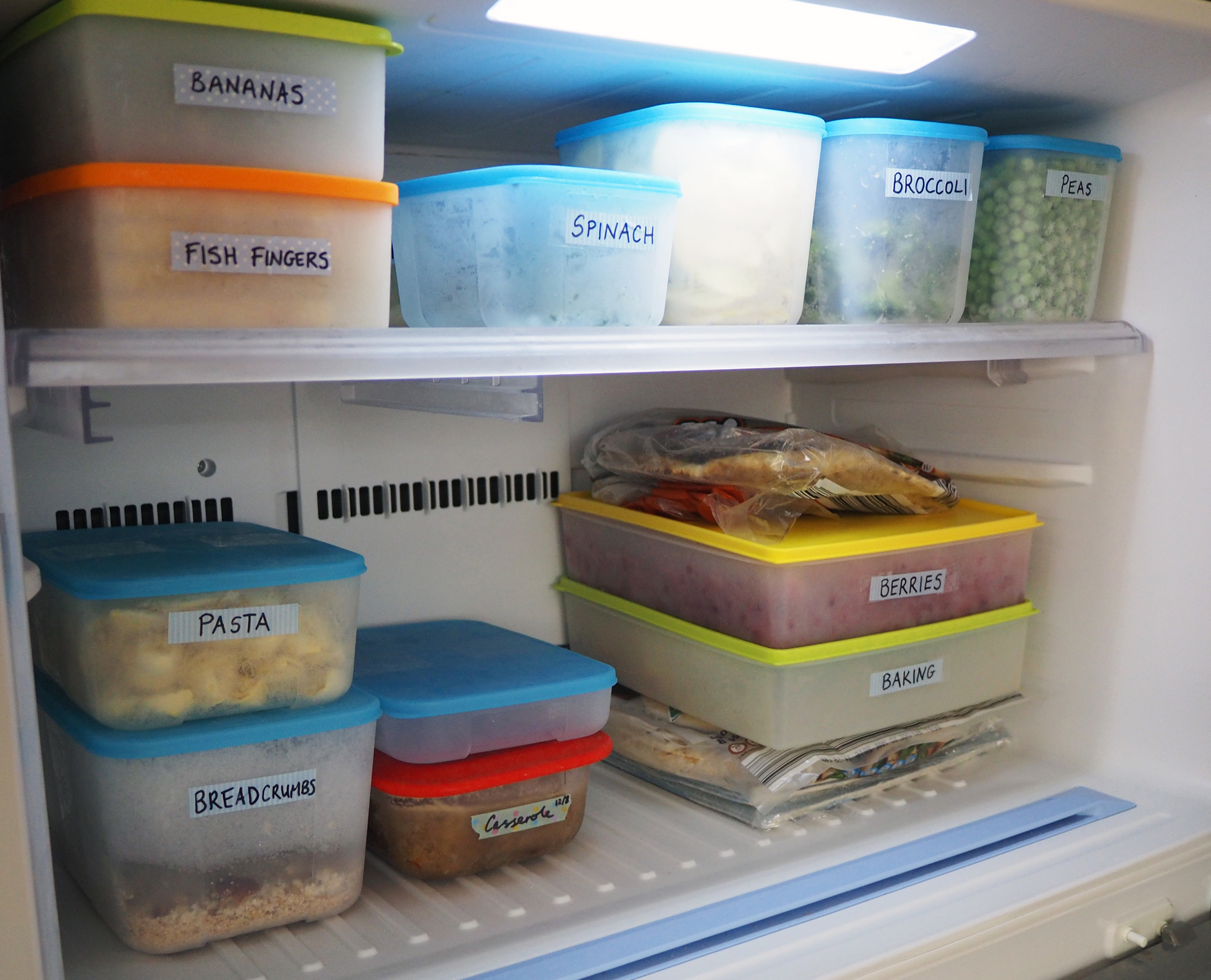 An organised freezer using air-and-liquid-tight containers to store and organise food so that everything is easy to find and accessible