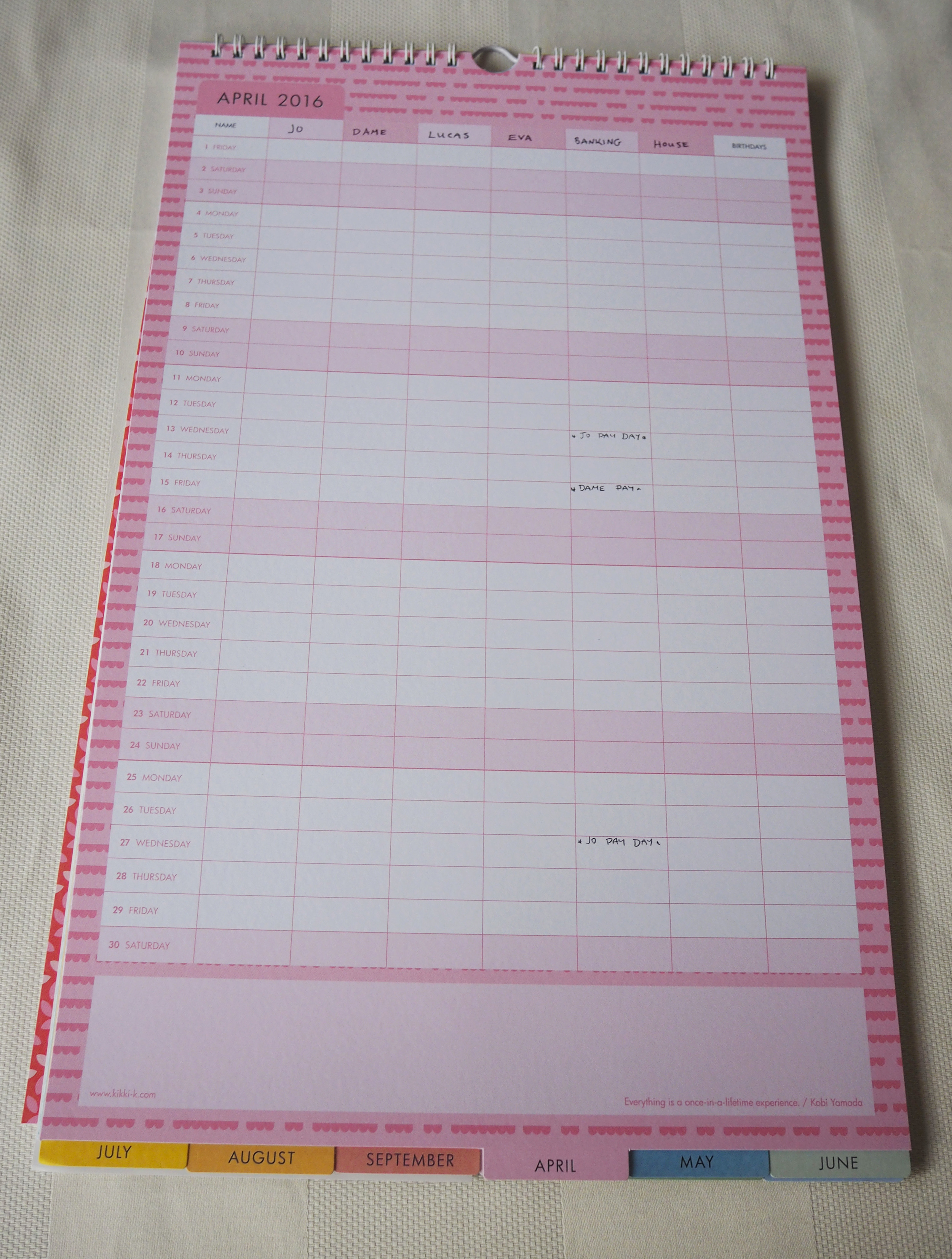 Blank calendar page, this calendar format is perfect for getting your family organised and on track