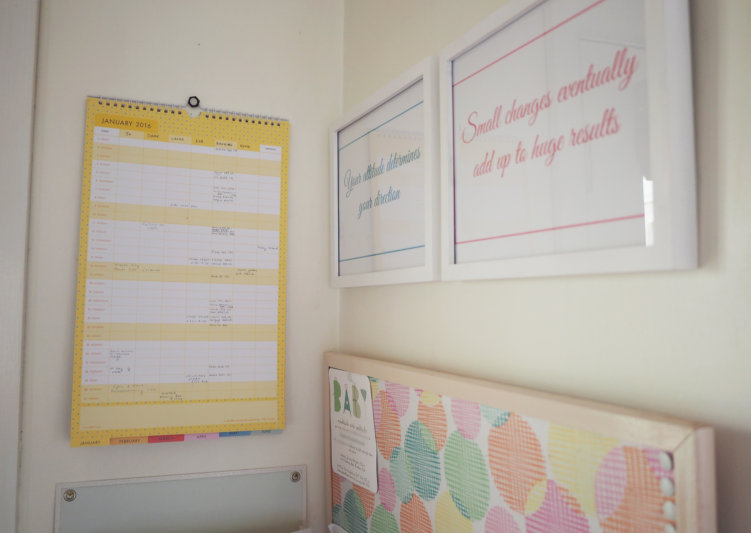 Family calendar hanging in the command center - a great spot to see regularly and keep you as organised as possible!