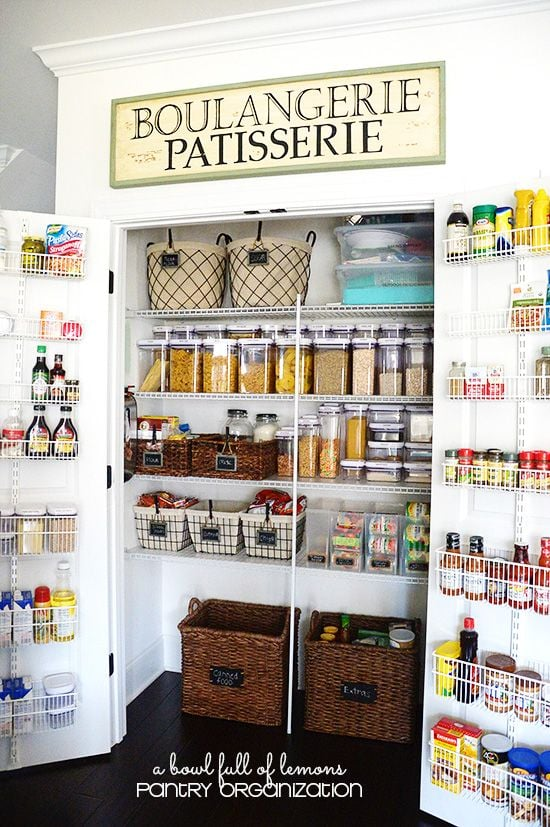 Baskets, containers and boxes contain and organise items for a sorted pantry space