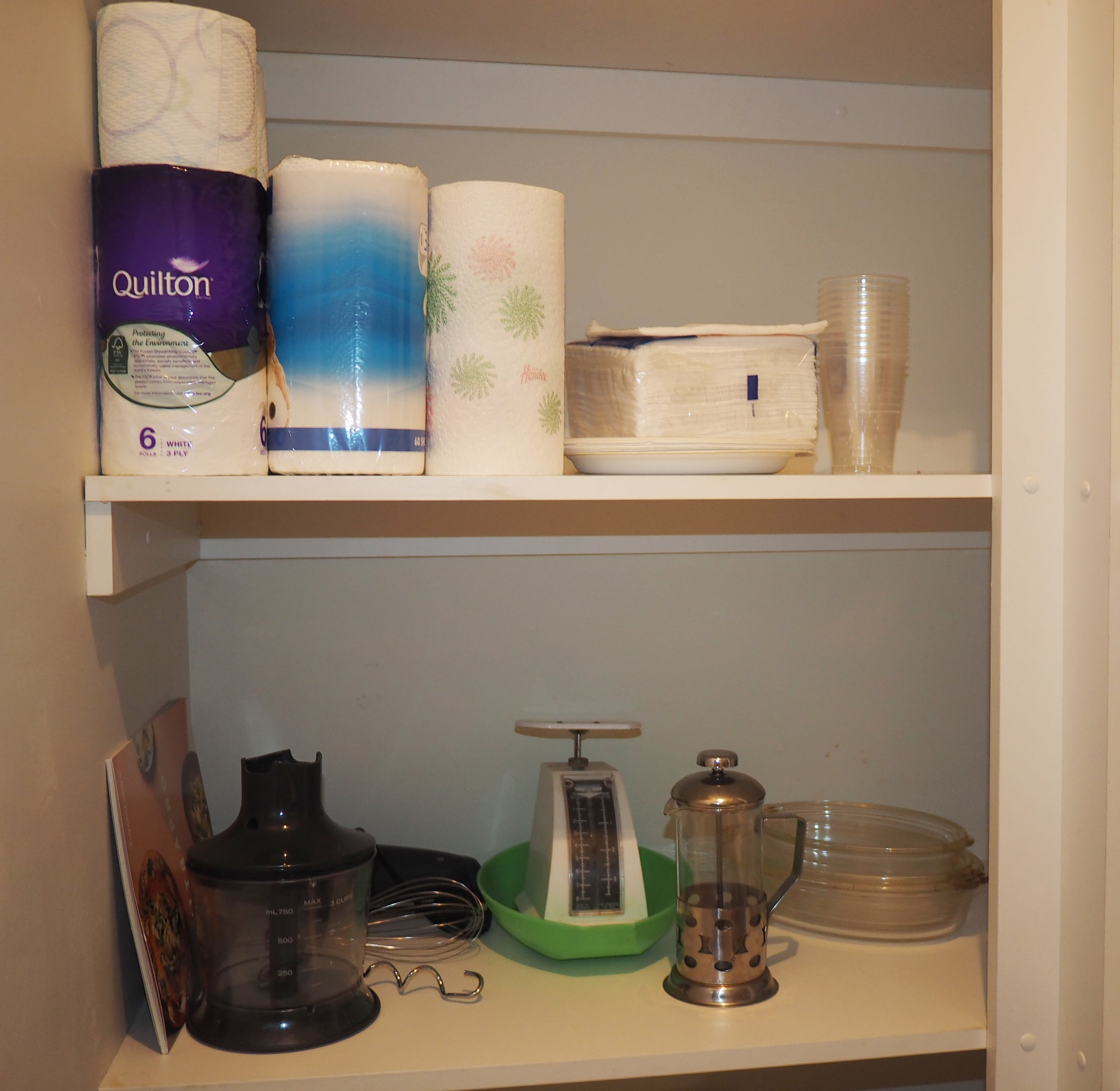 Put less used items in the corner, out of sight but still easily accessible. Click through for more pantry organising tips