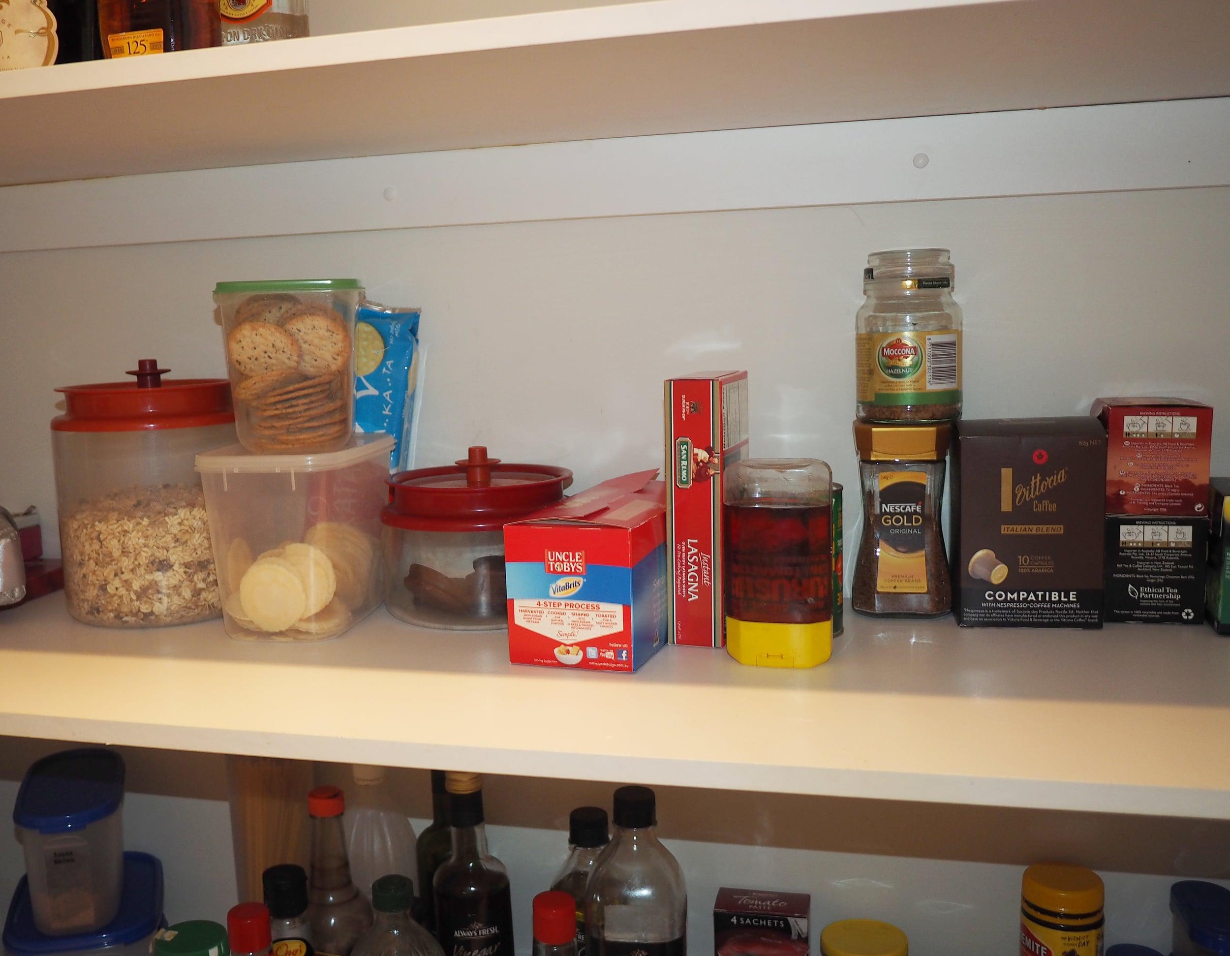 organising food items in a pantry