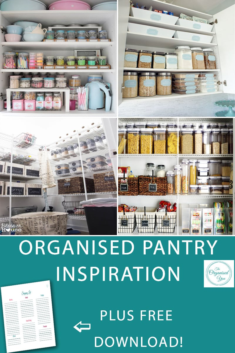 Organised pantry inspiration - are you wanting to get your pantry space organised, but not sure where to start? Take a look through these organised pantry spaces to get some ideas and inspiration for how to get your own pantry organised and sorted for the busy year ahead. Click through to be inspired and grab you FREE download of a shopping inventory checklist