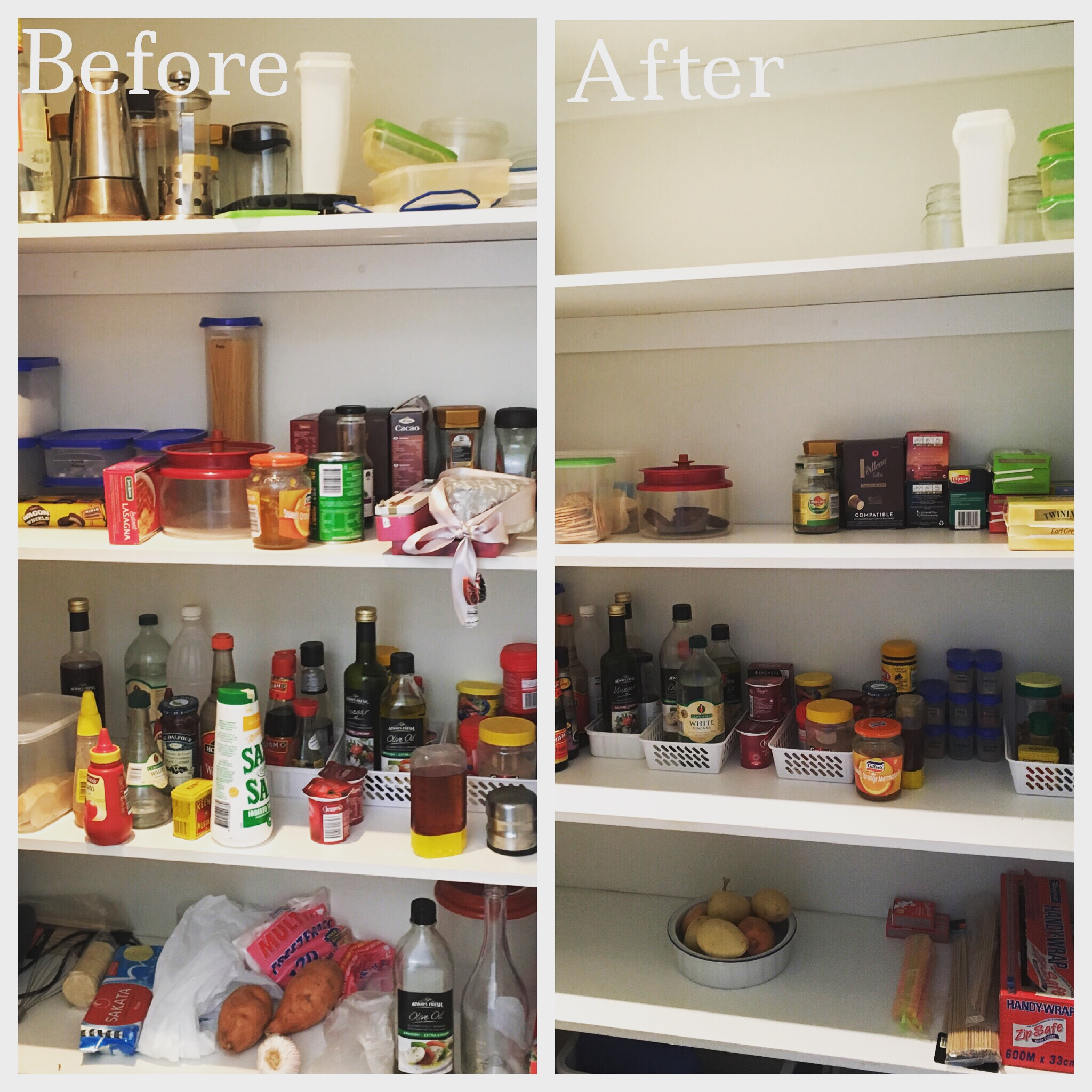 An organised pantry makeover - before and after - to show the power of grouping like with like, getting rid of unused and unnecessary items and creating easy access to all items