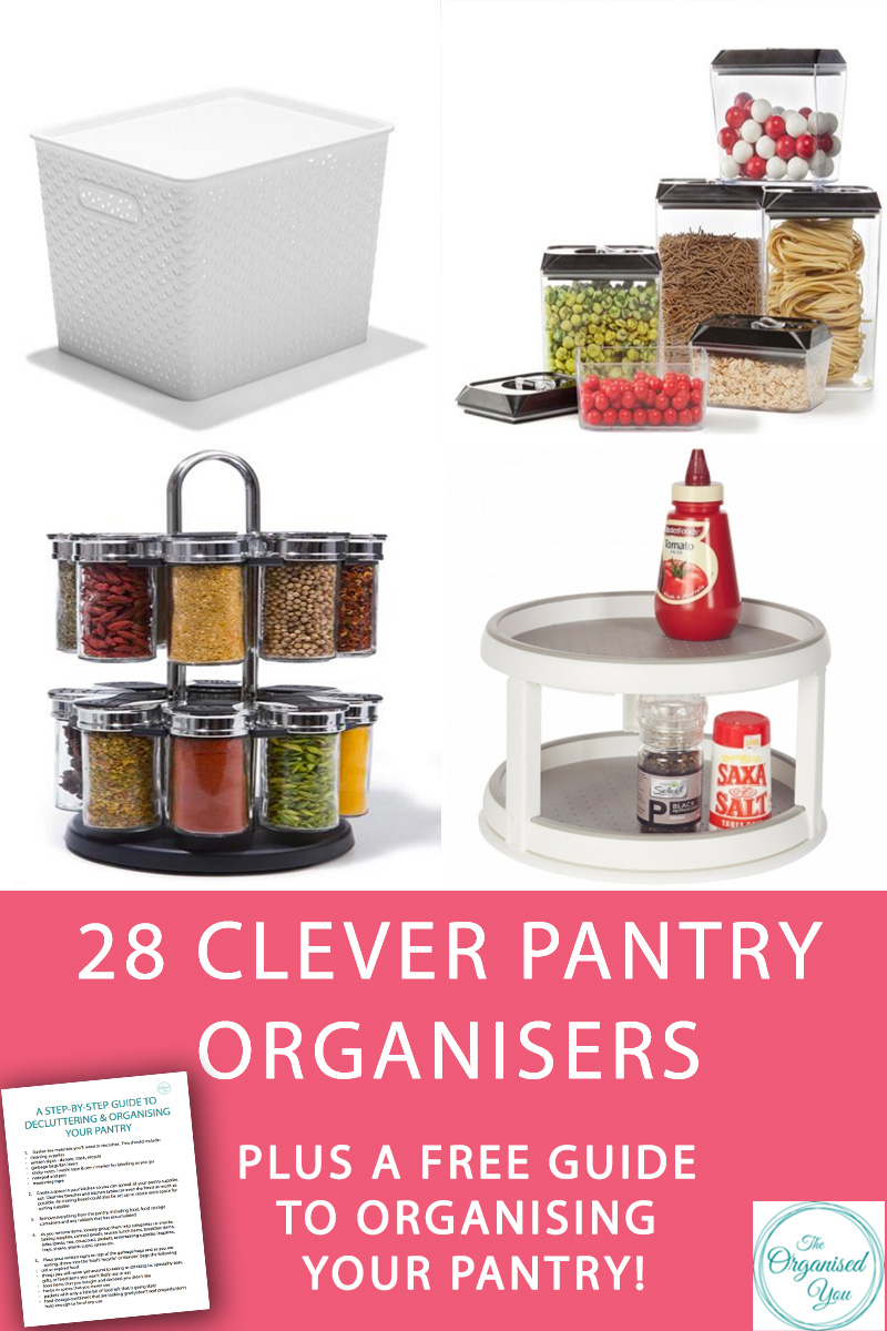 28 Clever Pantry Organisers {Plus a FREE step-by-step guide to decluttering your pantry} - Ever wondered how to achieve those beautifully organised pantries that you see all over the Internet? A good declutter and a few great storage solutions are all you need to set up a workable, organised pantry that suits the needs of you and your family. Click through to see 28 clever pantry organisers and grab your FREE step-by-step guide to how to declutter and organise your pantry!
