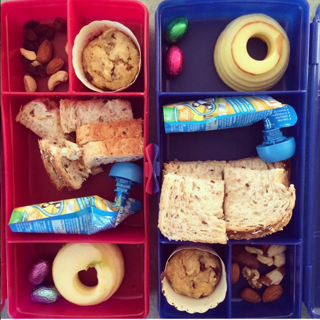 Kids' lunchbox ideas - a sandwich, fruit, sweet treat and healthy savoury snack will satisfy most children's palettes!