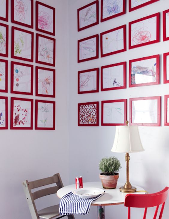 Cheap Ikea frames make it easy to switch out the different pieces of artwork and create a unique display in any room of the house