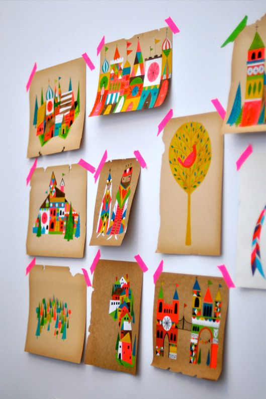 Using washi tape on a wall has to be one of the easiest and quickest ways to display artwork, anyone could achieve this in any space of their house!