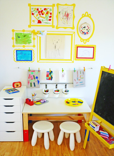 These painted wall frames from the fabulous Childhood 101 are such a clever and unique way to display pictures,