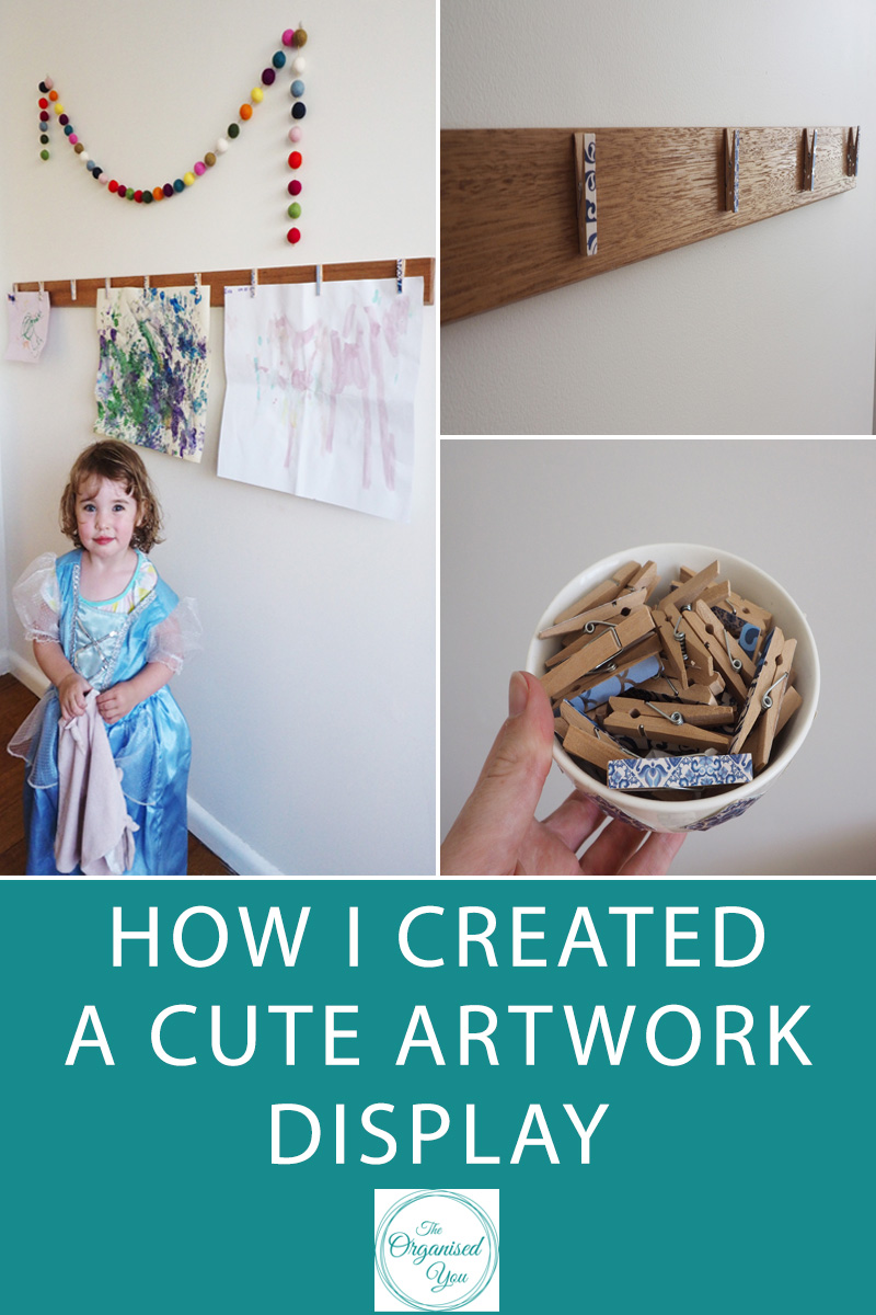 How I created a cute artwork display - Do you struggle with an overflow of artwork and nowhere to display it?This project is a quick and easy way to show off your child's latest masterpieces! Click through for the full tutorial