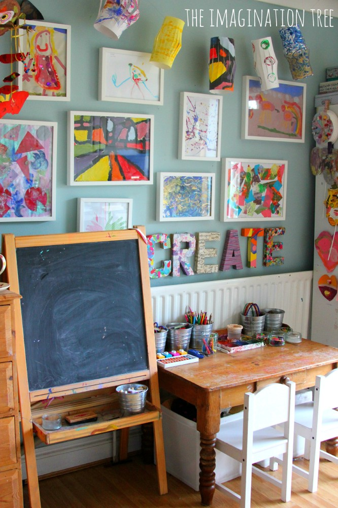 An entire creative space is the perfect spot to hold all your child's art supplies and tools, as well as a great spot for displaying the latest masterpiece