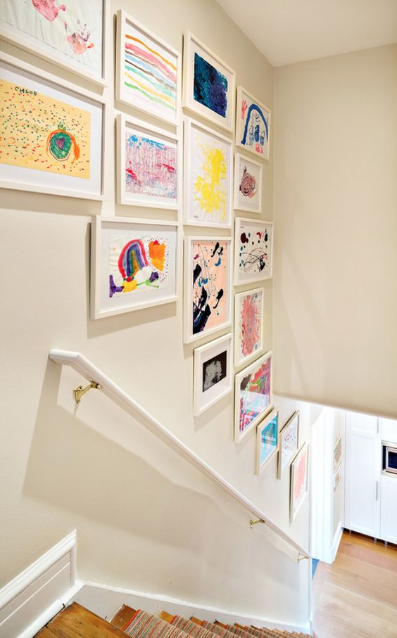 The hallway is a great spot for an artwork display