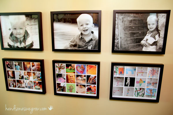 A collage of images displaying different pieces of art underneath a photograph of the artist