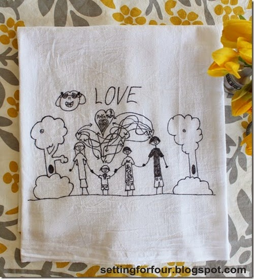 A piece of artwork can be transferred onto a tea-towel for a more lasting memory of a special piece of art