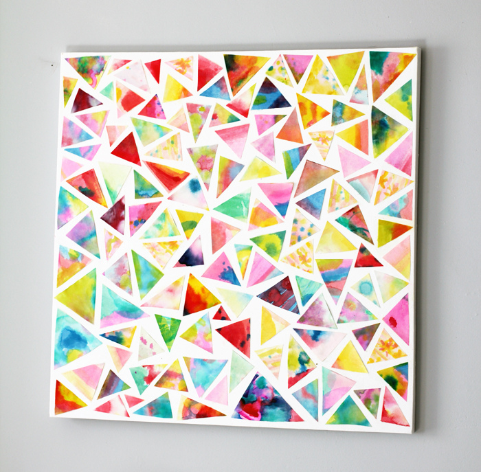Triangle cut-outs of special art pieces put together in a collage