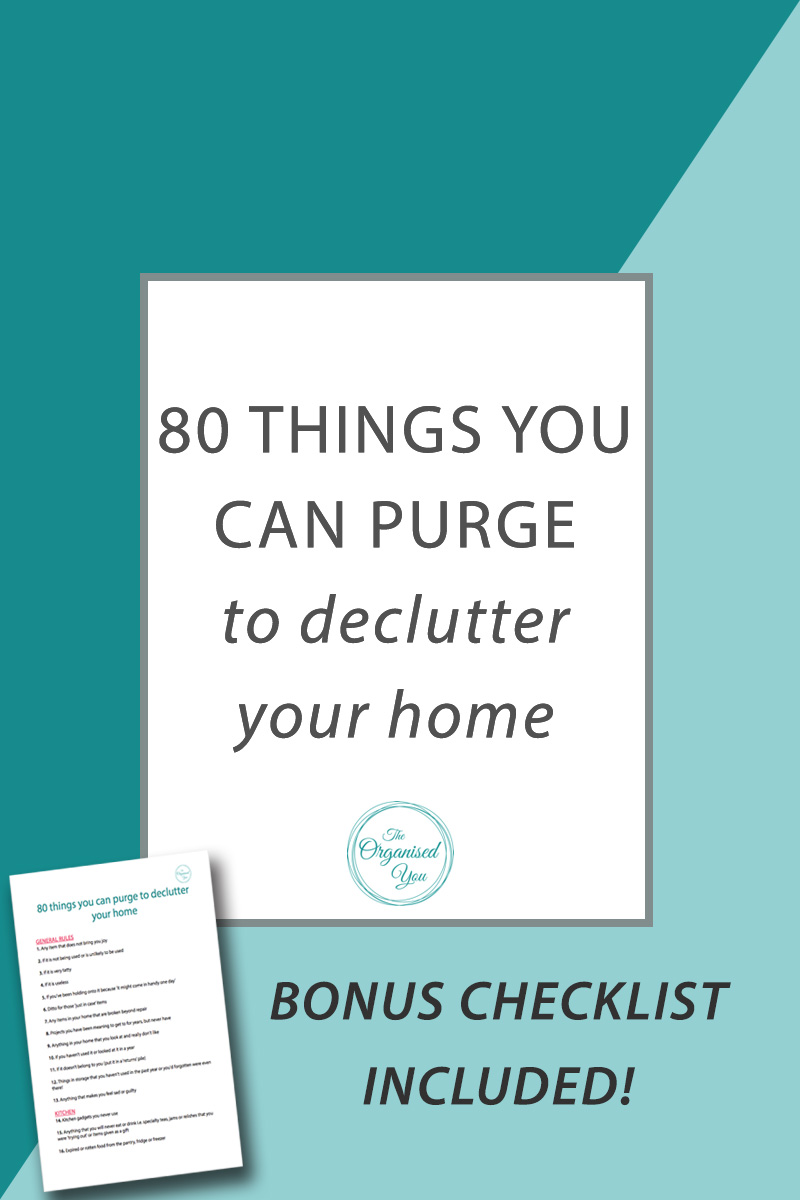 80 things you can purge to declutter your home - decluttering and organising your home will leave you feeling calm, in control and with a clearer approach to your day-to-day routine. This huge list of 80 items you can purge today can give you those feelings - choose 10-15 on the list, or start with a room, and get rid of what you can to become more organised at home. Click through to read the full post!