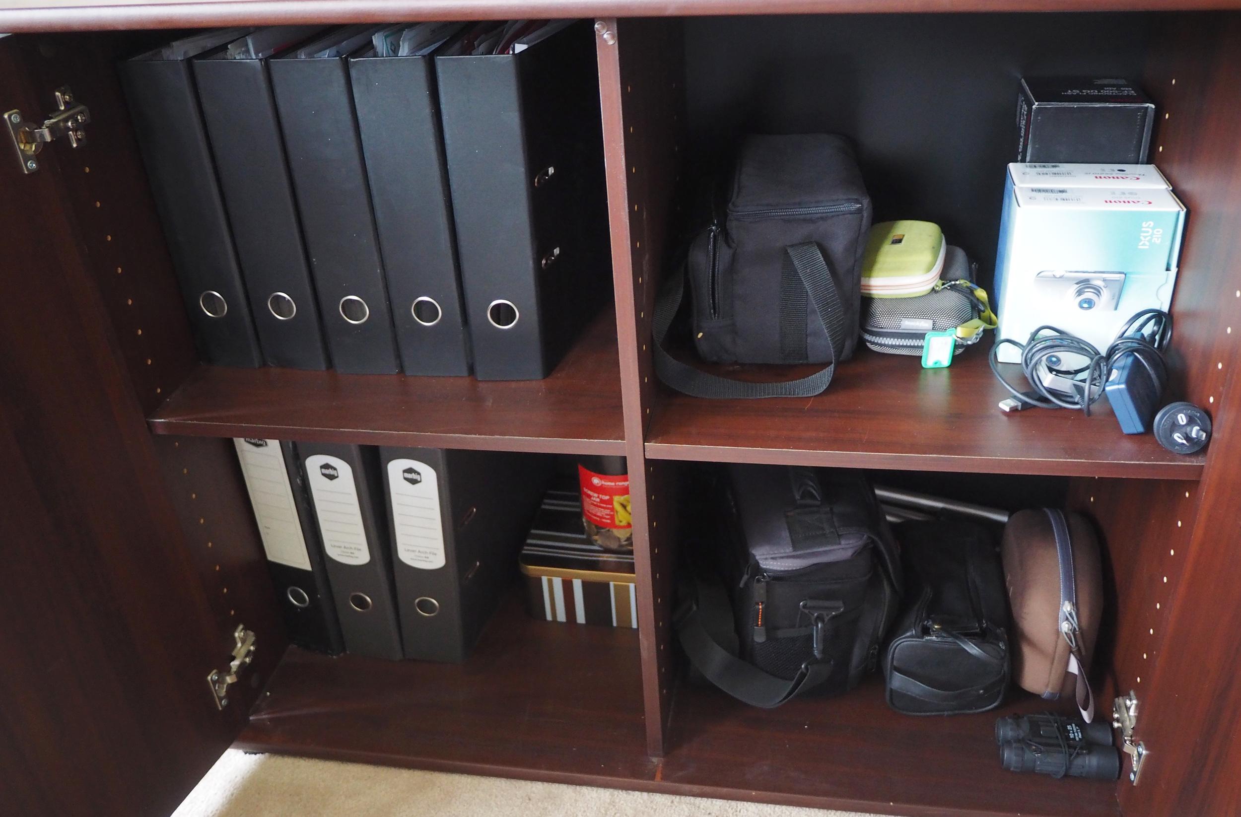 Camera equipment storage neat and organised