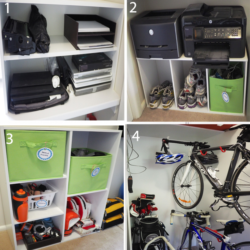 An organised storage space using labelled fabric storage boxes and baskets to separate items, bike hangers, and a better layout for computer equipment