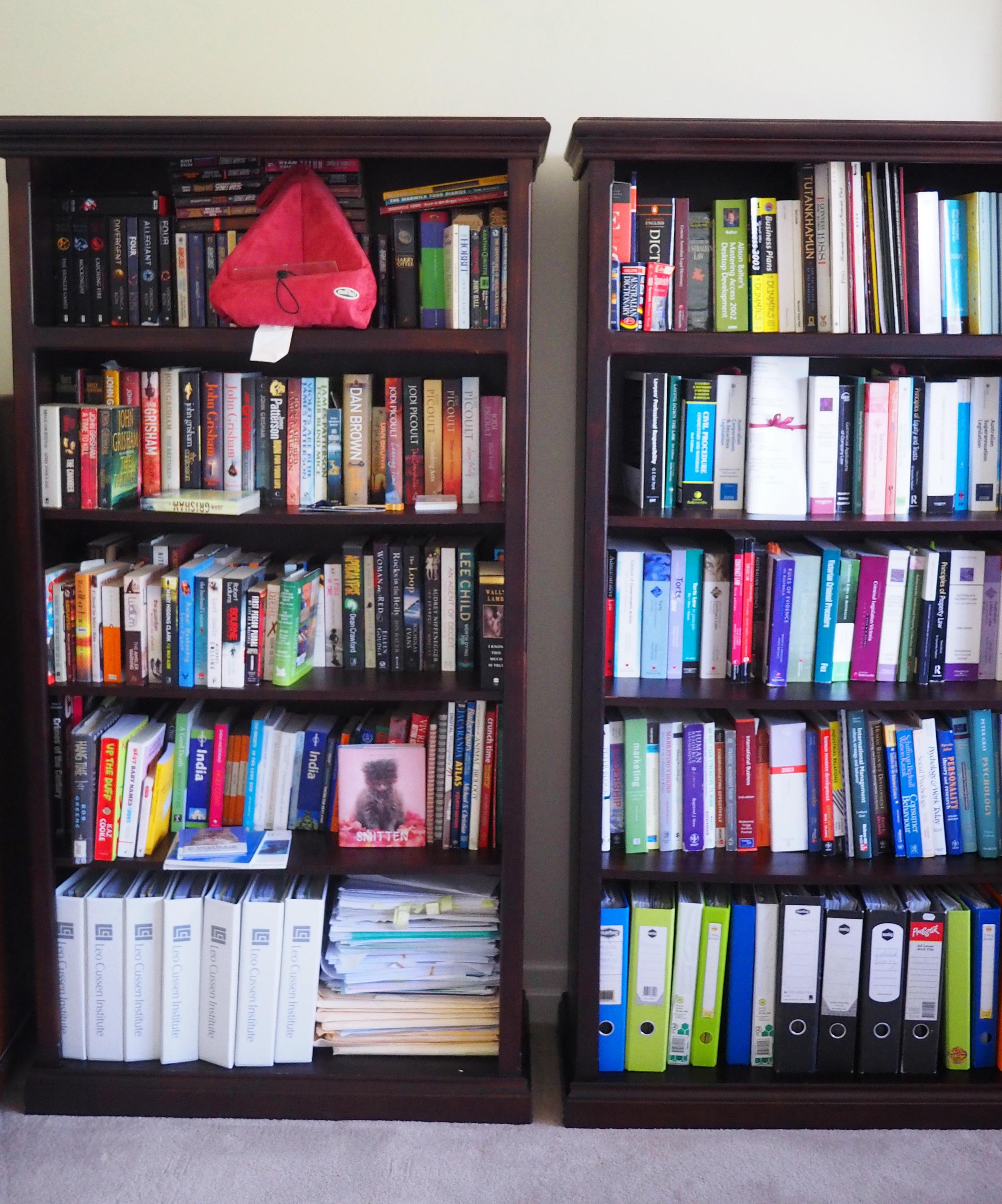 Bookshelves organised