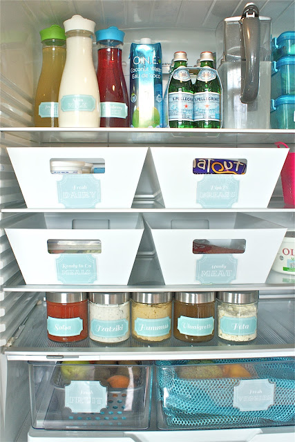 use labels on jars and baskets to keep everything organised in the fridge