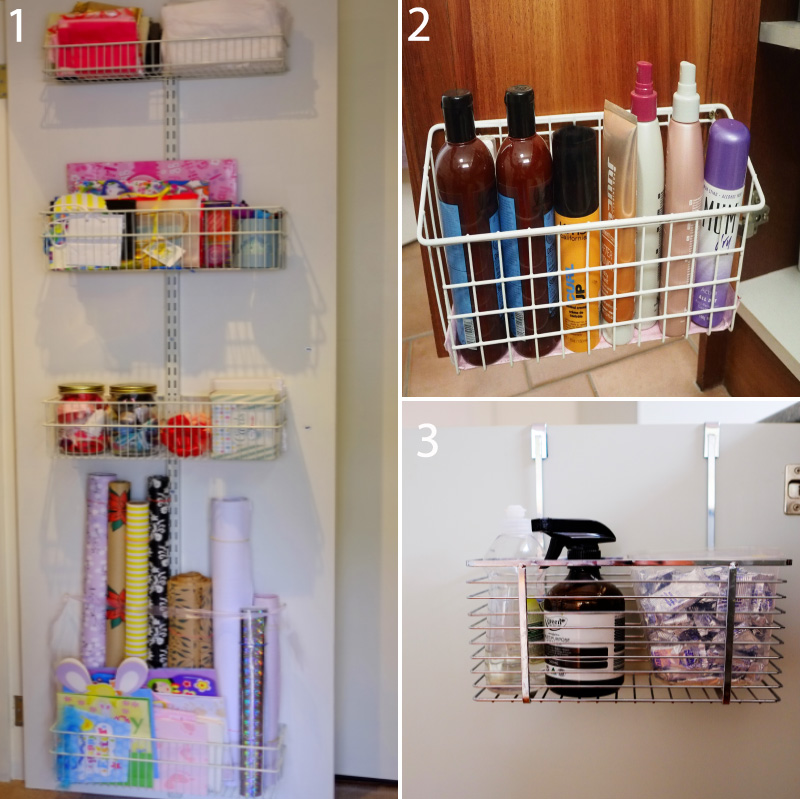 Over-the-door or back-of-door storage products are my favourite hidden storage solutions, because having everything right there makes the items so easy to access!