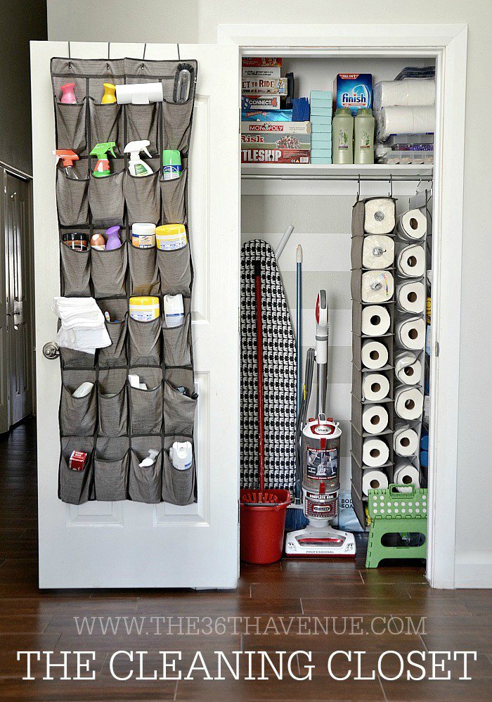 Use the back of the door to hang divided pockets for cleaning products