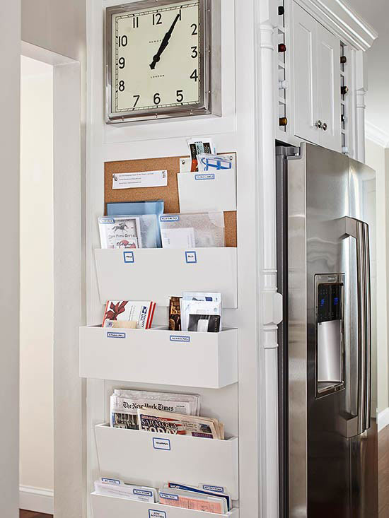 Set up a family command centre along one wall of your kitchen