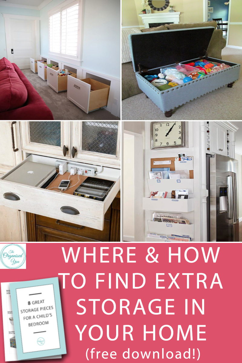 Where & How to Find Extra Storage In Your Home - finding extra storage space is all about looking in the 'secret' or 'hidden' spaces of your home to store items away and ultimately give you more space on your benches,countertops and floor. Click through to find some sneaky storage ideas (and some easy ones too!) to keep your home more organised, and grab your FREE download of the 8 best storage pieces for a child's bedroom!)