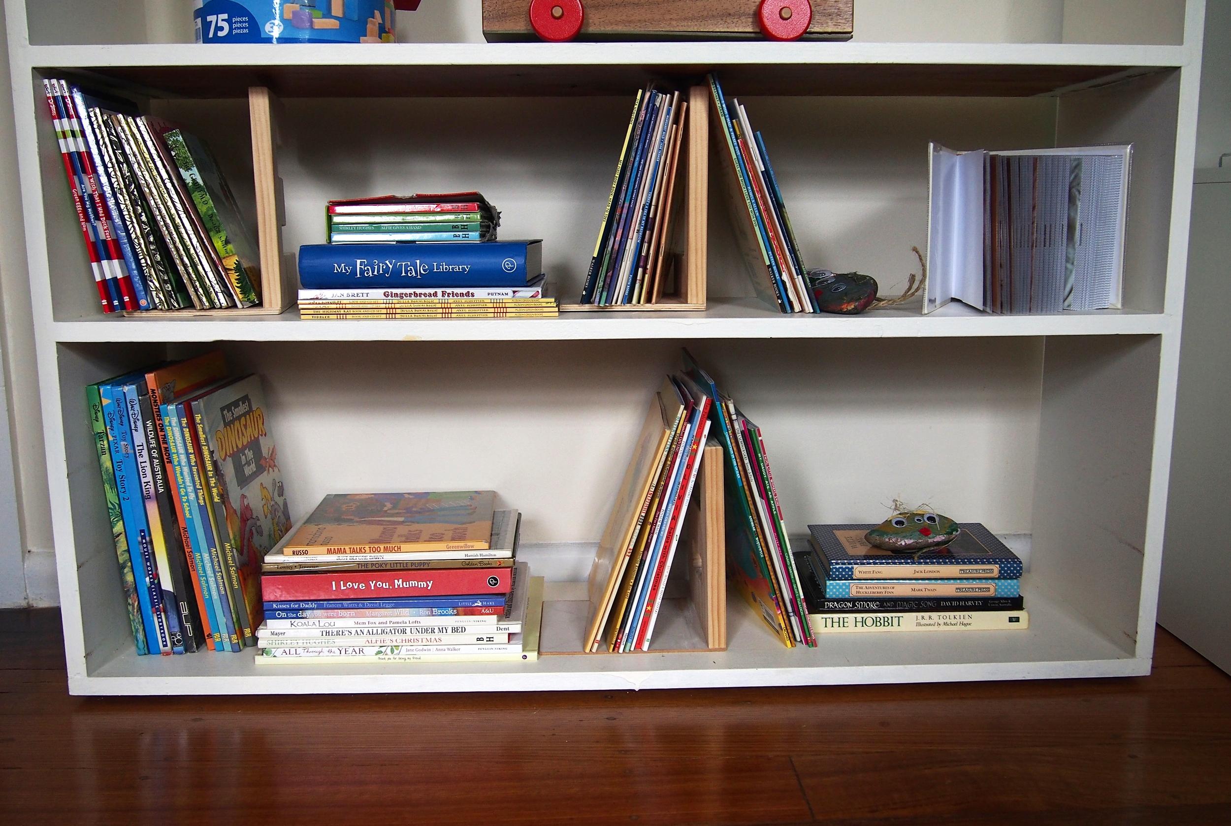 organised bookshelves