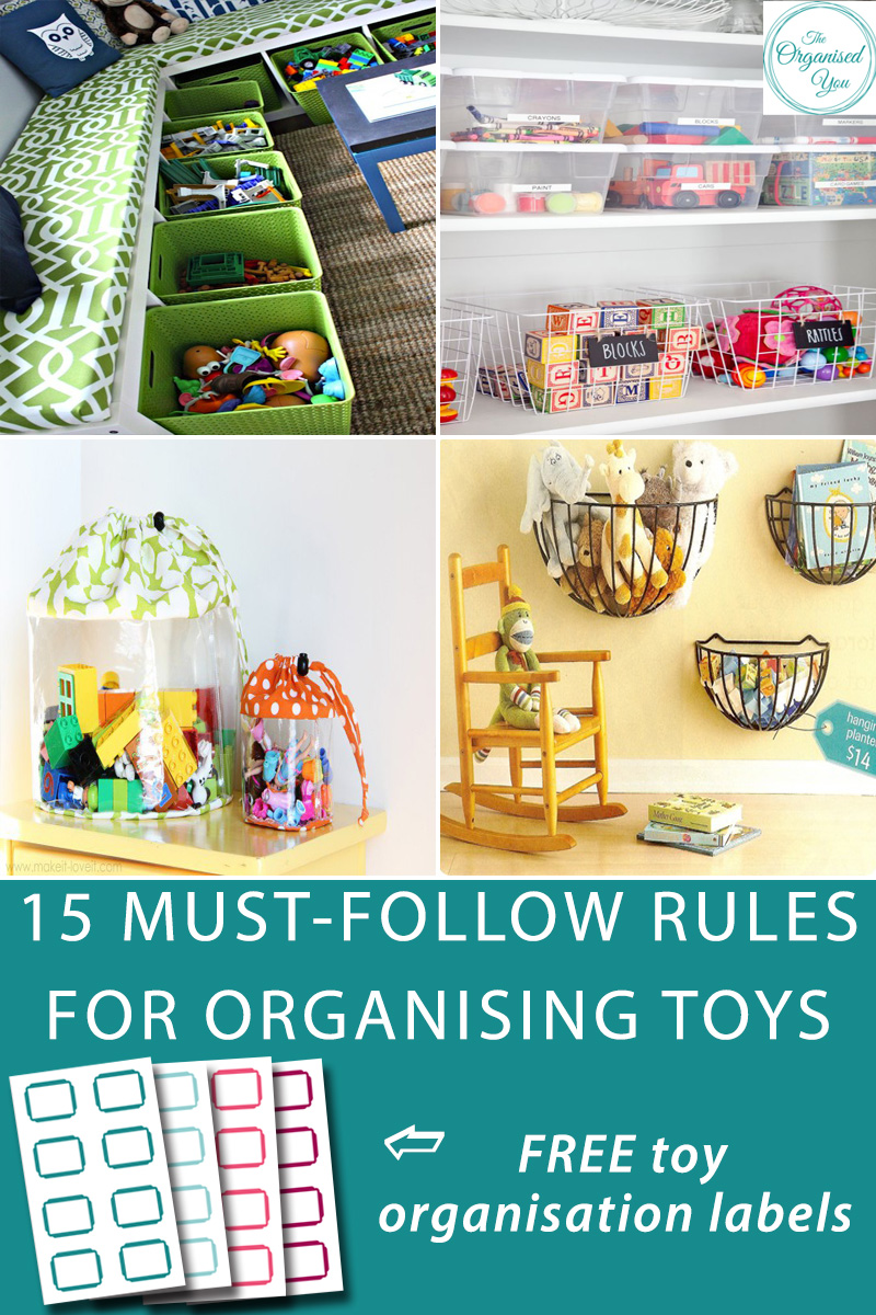 15 Must-follow rules for organising toys - Getting those toy collections sorted and organised into easy-to-follow systems that children can use to find what they need, and pack up themselves, is the best way to prevent toy clutter from taking over the house.Click through to read the 15 must-follow rules for toy organisation, and get your FREE toy organisation labels -4 different colours to choose from!