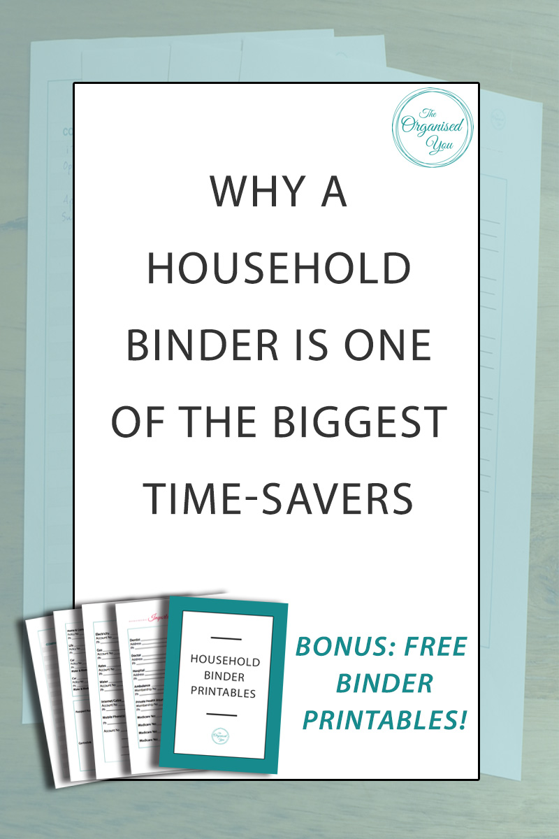 Why a household binder is one of the biggest time-savers -Imagine if you could have all your important household information all in the one easy-to-access spot, so you didn't have to go searching through piles of paperwork around the house to find what you needed.A household [or family] binder will help relieve you of this stress, and is one of the greatest time-saving devices for getting through those more mundane tasks. Click through to read how to set one up and get access to 4 FREE binder printables to start you on your journey to household organisation!