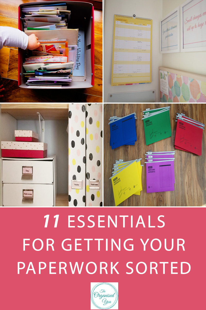 11 Essentials for getting your paperwork sorted - s ometimes staying on top of the daily paper clutter can seem like a never-ending task, and often those paper piles can feel like they're taking over your home! This post details the  11 essential products and tools to that will  help you stay on top of the paperwork and help you feel more in control of those daily tasks! Click through to read and get your FREE household binder printables.