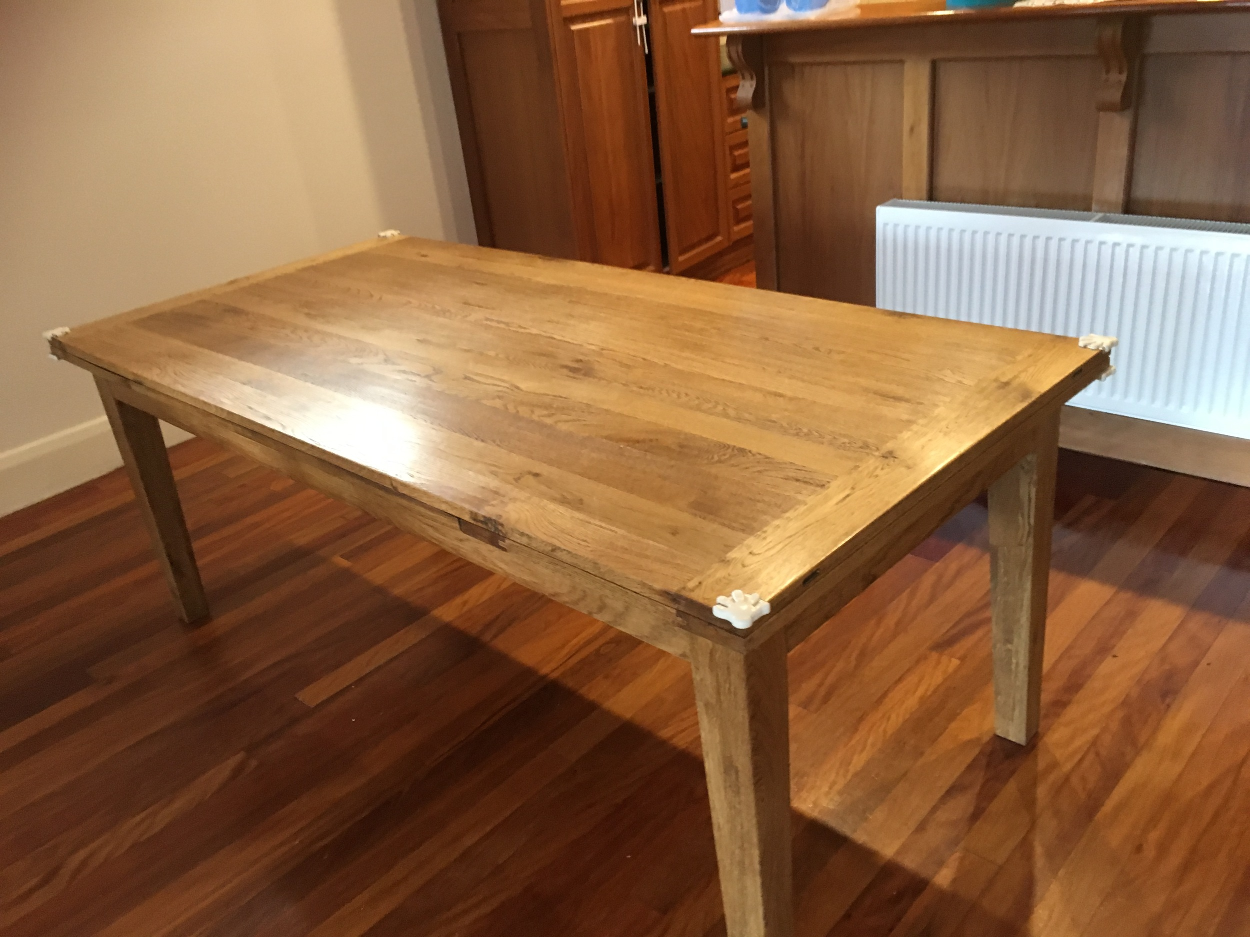 Gorgeous dining table for our new renovation - seats 8 but pulls-out to seat extras