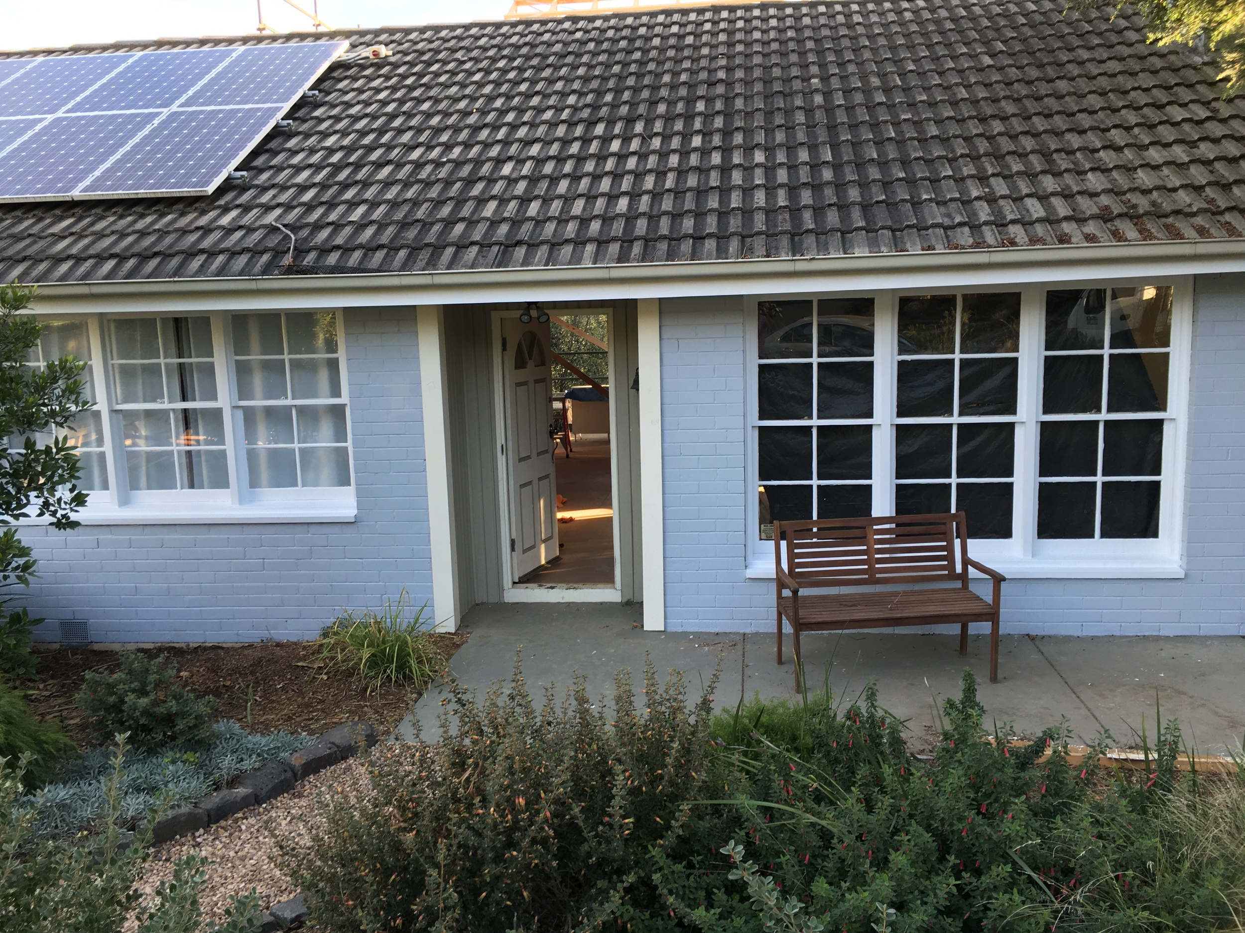 House exterior painted in grey