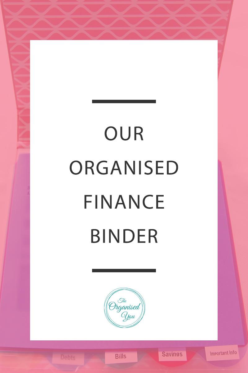 An organised finance binder