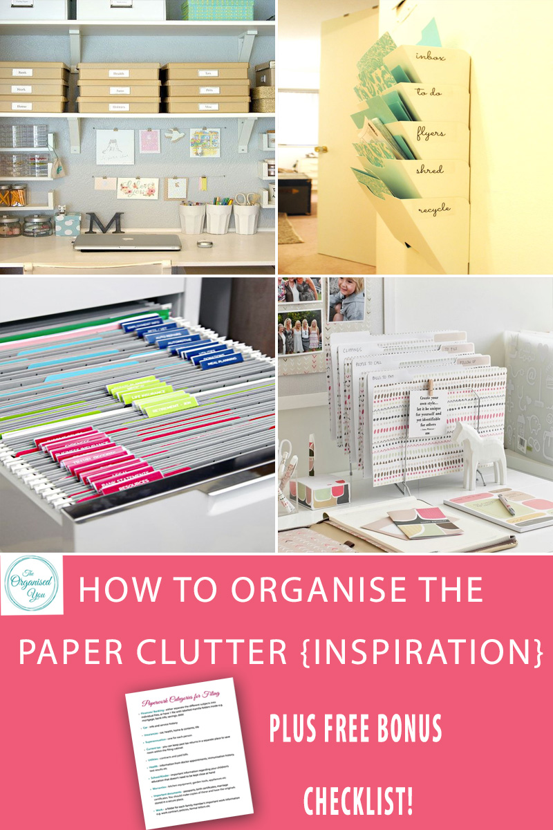How to organise paper clutter - inspirational ideas to help you organise your paper clutter, plus FREE bonus checklist for the paper categories you should have for filing