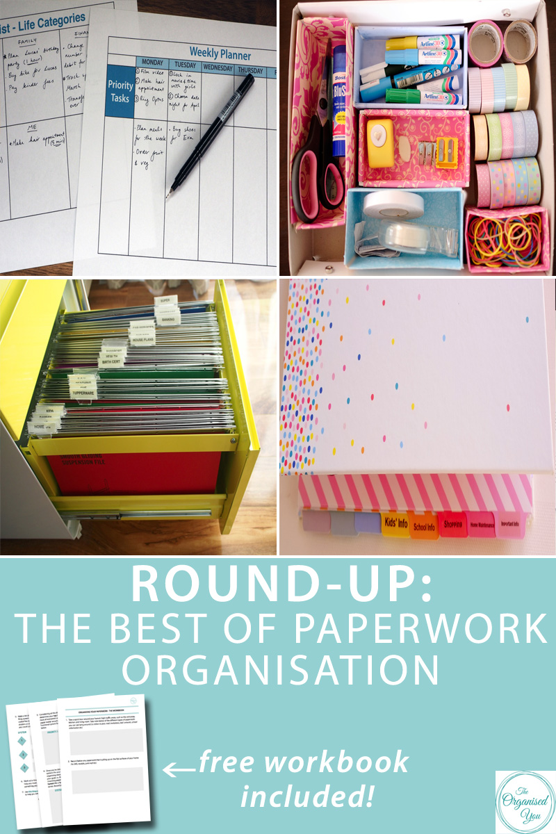 Round-up: The best of paperwork organisation - in this round-up post, I've compiled a collection of all the best paperwork organising ideas from The Organised You. These include simple yet functional systems that I have in my own home to stay in control of incoming paperwork, filing, schedules and planning. Click through to read more and access your FREE 4-page workbook to get you started on your paper organising journey!