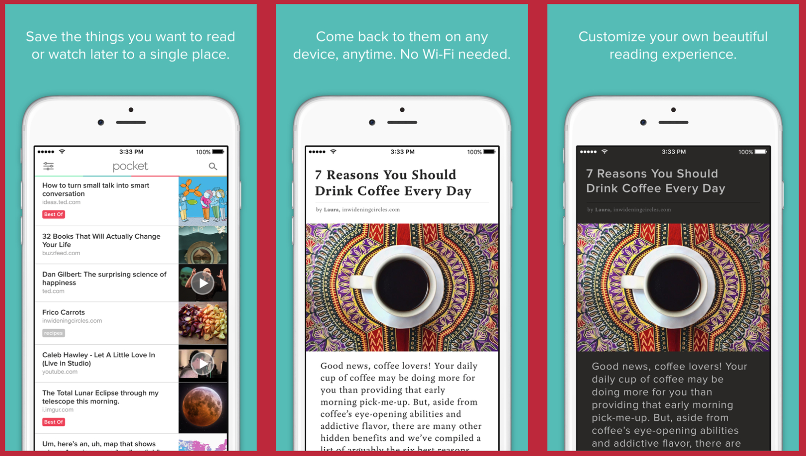 Pocket - an app that allows you to save, discover and recommend the stories that interest you