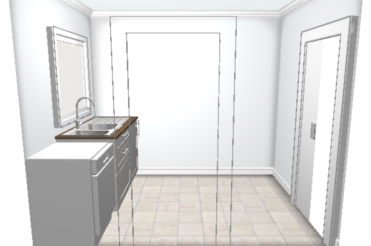 3D laundry plan, created in the Ikea Home Planner